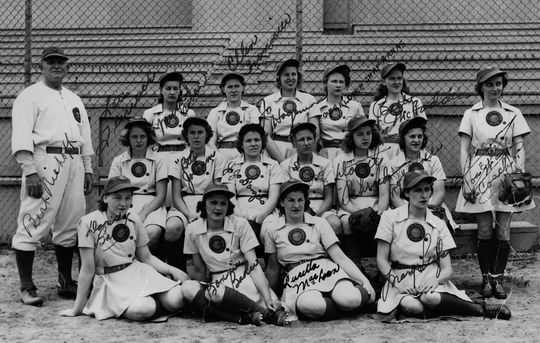 The South Bend Blue Sox teamed up with the Rockford Peaches in the 1943 AAGPBL All-Star Game at Wrigley Field, taking on a combined team from the Racine Belles and Kenosha Comets. (National Baseball Hall of Fame and Museum)