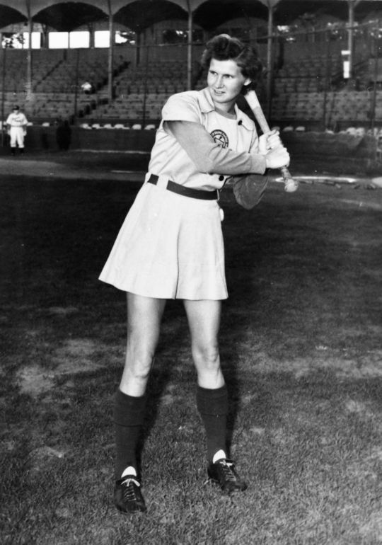"Connie Wisniewski, a Grand Rapids Chicks pitcher known as the ""Iron Woman,"" set the AAGPBL all-time record in 1946 for wins in a season with 33. She would also finish that season with an ERA of 0.96, after tossing 40 complete games.   (National Baseball Hall of Fame)"