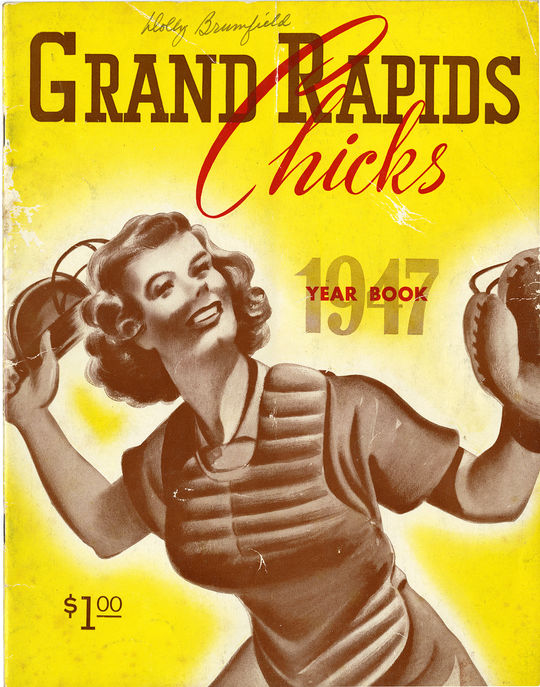 A team yearbook for the 1947 Grand Rapids Chicks, featured players like Connie Wisniewski. Magdalen Redman would join the Chicks from 1950-54. (National Baseball Hall of Fame)