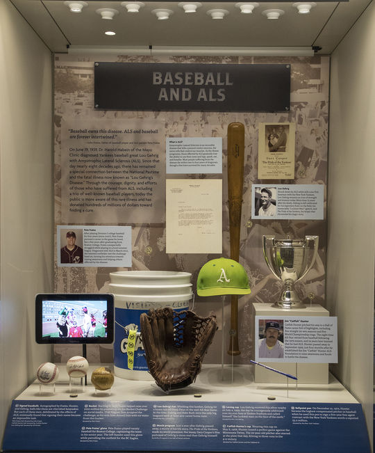 """The """"Baseball and ALS,"""" exhibit is located on the Museum's second floor at the end of the """"Whole New Ballgame"""" exhibit. (Milo Stewart Jr./National Baseball Hall of Fame and Museum)"""