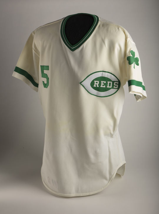 The Unusual Jerseys exhibit at the All-Star FanFest will feature Johnny Bench's 1978 green St. Patrick's Day Reds Jersey, pictured above. (Milo Stewart Jr./National Baseball Hall of Fame and Museum)