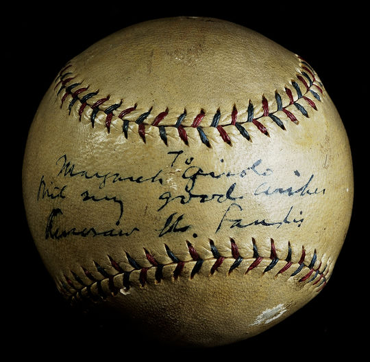 MLB Commissioner Kenesaw Mountain Landis signed this baseball for Margaret Gisolo in 1928.  At the time, Gisolo was the only girl playing on a American Legion Baseball team. (Milo Stewart Jr./National Baseball Hall of Fame and Museum)