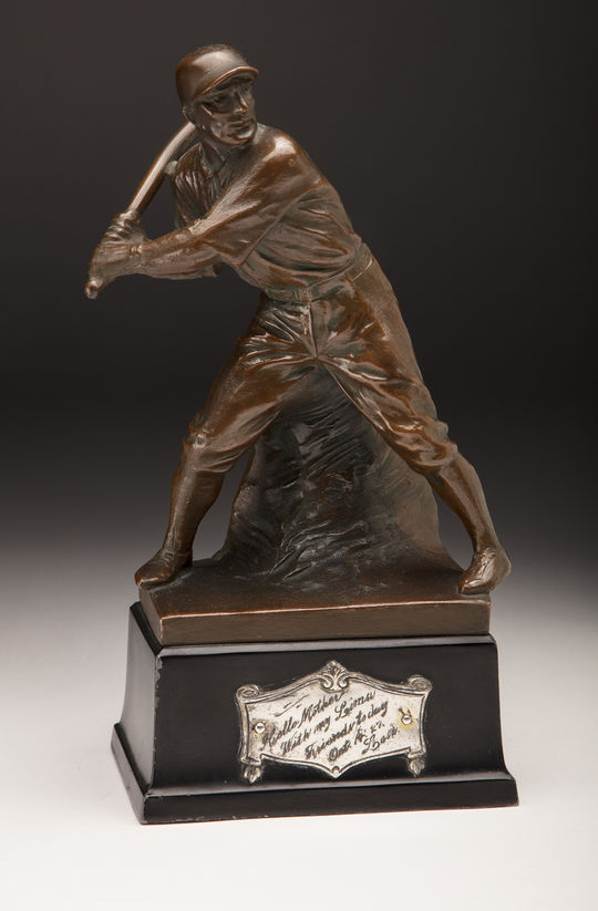 This bronze statue was acquired during a 1927 barnstorming tour of Lou Gehrig and Babe Ruth's respective teams. The baseball fans of Lima, Ohio (one of the stops on the tour) presented the Ruth and Gehrig with a pair of statues, one for Ruth's daughter and the other (pictured above) for Gehrig's mother. (Milo Stewart Jr./National Baseball Hall of Fame and Museum)