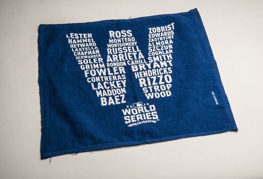 """This towel, with the 2016 Cubs players listed as a """"W"""", was donated to the Hall of Fame following the Cubs' win in the 2016 World Series. (Milo Stewart Jr./National Baseball Hall of Fame and Museum)"""