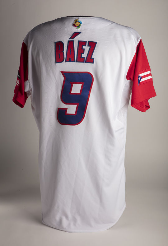 The Cubs' Javier Báez wore this jersey while playing with Team Puerto Rico at the 2017 World Baseball Classic. (Milo Stewart Jr./National Baseball Hall of Fame and Museum)