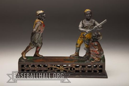 Dark Town Battery was designed by James H. Bowen, and features three moving characters; a rarity for mechanical banks. (Milo Stewart Jr./National Baseball Hall of Fame and Museum)