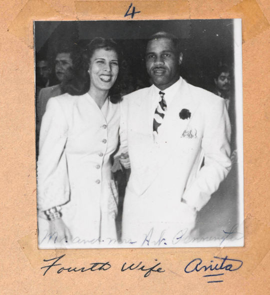"""Art Pennington with his fourth wife, Anita.  She was a Mexican of Spanish descent with red hair and """"movie star"""" looks.  Her white skin caused problems for them in the United States.  BA-SCR-2-003  (National Baseball Hall of Fame)"""