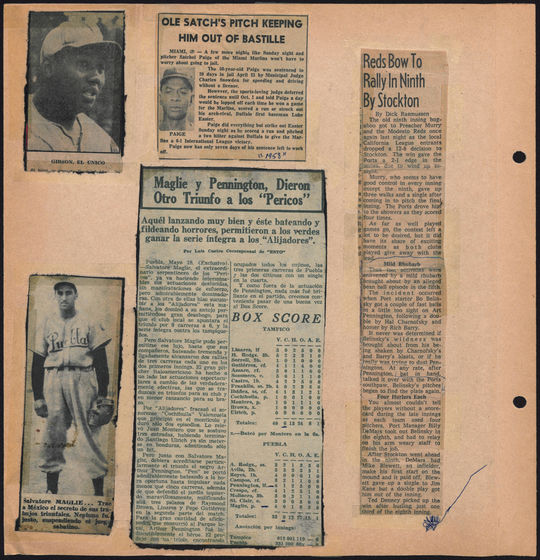A sample page from the Art Pennington Scrapbook at the National Baseball Hall of Fame.  This page includes articles in Spanish and English, as well as photos of Josh Gibson and Sal Maglie.  BA-SCR-2-006  (National Baseball Hall of Fame)