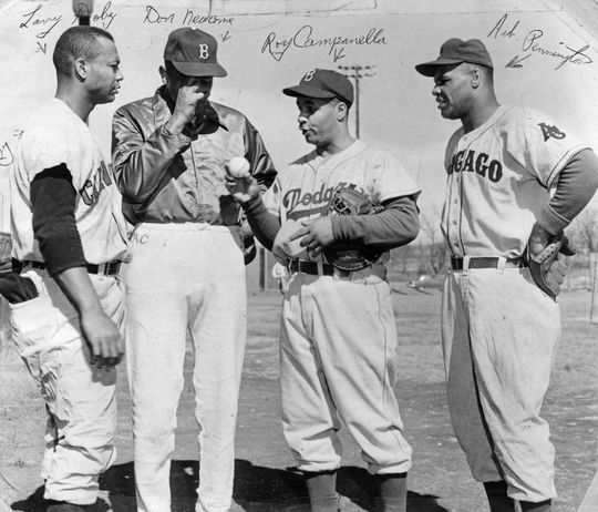 Left to right, Cleveland's Larry Doby, Brooklyn's Don Newcombe and Roy Campanella, and Pennington, with the Chicago American Giants, 1950.  BA-SCR-2-013  (National Baseball Hall of Fame)