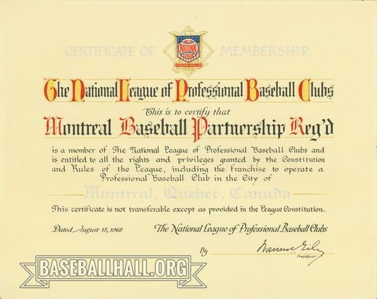 This certificate of membership formally identified the Montreal Expos as a part of the National League, and was presented to the club in 1968. (National Baseball Hall of Fame and Museum)