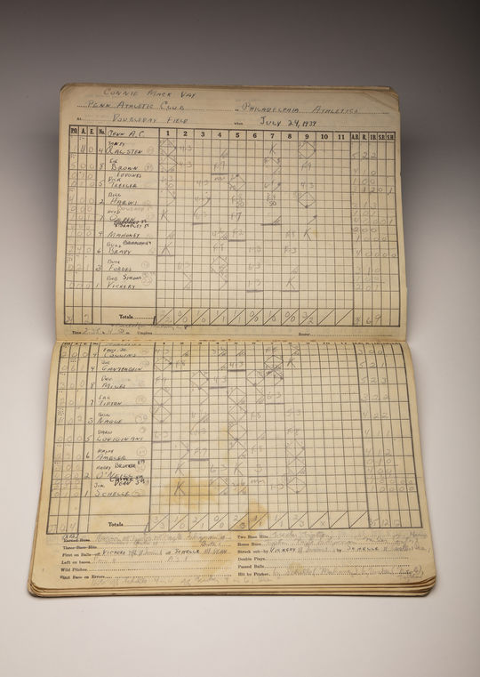 A scorebook of the game that Harry O'Neill played at Doubleday Field on July 24, 1939. (Milo Stewart Jr./National Baseball Hall of Fame and Museum)