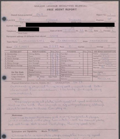 A scouting report on Harold Baines from May 5, 1977. (National Baseball Hall of Fame and Museum)
