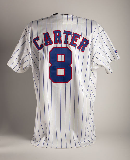 Gary Carter wore this Expos jersey during his final big league season with the Montreal Expos. (Milo Stewart Jr./National Baseball Hall of Fame and Museum)