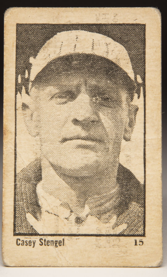The 1923 Maple Crispette card of Casey Stengel was intentionally short printed. There is only one known to exist today and it is part of the collection at the Hall of Fame. (Milo Stewart Jr./National Baseball Hall of Fame and Museum)