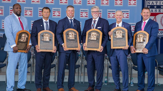 Hall of Fame Class of 2018 on stage at the Induction Ceremony. (National Baseball Hall of Fame and Museum)