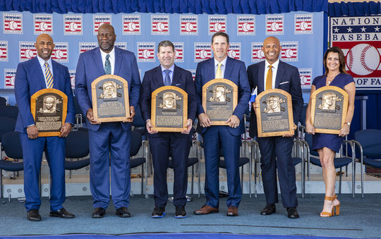 The Class of 2019 featured (from left) Harold Baines, Lee Smith, Edgar Martinez, Mike Mussina and Mariano Rivera. Roy Halladay was represented on the induction stage by his wife, Brandy Halladay. (Milo Stewart Jr./National Baseball Hall of Fame and Museum)