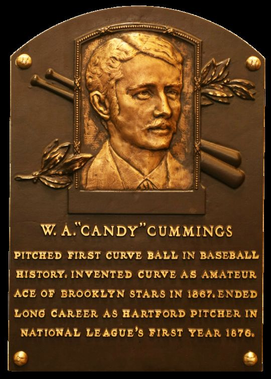 Hall of Fame pitcher Candy Cummings is often cited as the inventor of the curve ball, as cited on his Hall of Fame plaque. (National Baseball Hall of Fame)