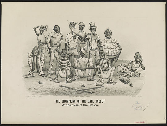 """During the nadir of U.S. race relations, Currier and Ives published """"Dark Town Comics,"""" which were caricatures of both African Americans and the African-American experience. (Library of Congress/National Baseball Hall of Fame and Museum)"""