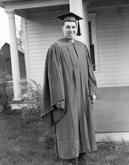 Bob Feller photographed on his high school graduation day in 1936 in Van Meter, Iowa. BL-1501-91 (National Baseball Hall of Fame Library)