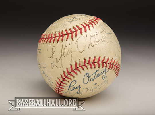 """A baseball signed by members of the 1948 San Francisco Seals, including manager Lefty O'Doul. <a href=""""https://collection.baseballhall.org/PASTIME/san-francisco-seals-autographed-ball-1948-2"""">PASTIME</a> (Milo Stewart Jr./National Baseball Hall of Fame and Museum)"""