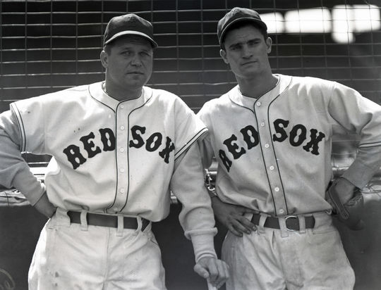 Jimmie Foxx (left), seen here with another future Hall of Famer, Bobby Doerr, pitched one scoreless inning with the Red Sox in 1939. BL-7-2007-30 (National Baseball Hall of Fame Library)
