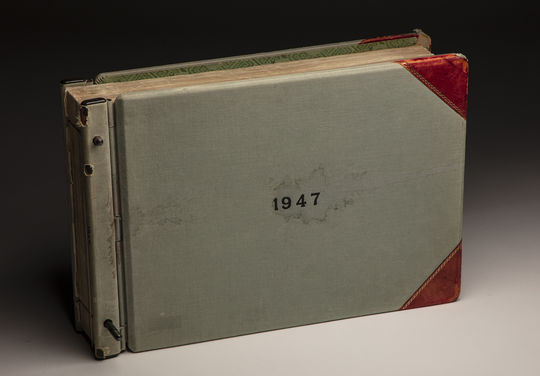 This ledger contains the results of each box score of the 1947 National League season. For decades, MLB recorded stats by hand in binders like this. (Milo Stewart Jr./National Baseball Hall of Fame and Museum)