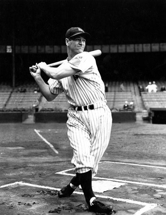 Lou Gehrig played 2,130 consecutive games from 1925 to 1939. He was elected to the Hall of Fame in  1939. (National Baseball Hall of Fame and Museum)