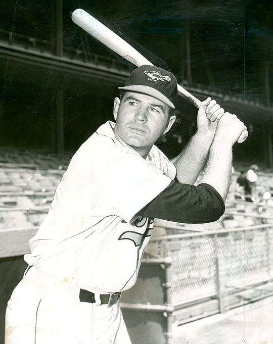 Jim Gentile held the Orioles first base job when Boog Powell broke into the majors, necessitating a move to left field for Powell for much of his first three full big league seasons. (National Baseball Hall of Fame and Museum)
