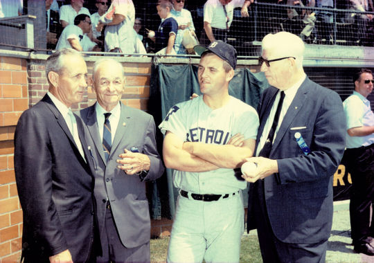 Denny McLain of the Detroit Tigers with Hall of Fame members Charlie Gehringer, Zack Wheat and Lefty Grove at the Hall of Fame Game at Doubleday Field on July 22, 1968. (National Baseball Hall of Fame and Museum)