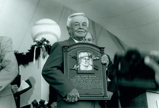 Earl Weaver, who managed the Orioles to 1,480 wins and four American League pennants over 17 seasons, was elected to the Hall of Fame in 1996. (National Baseball Hall of Fame and Museum)