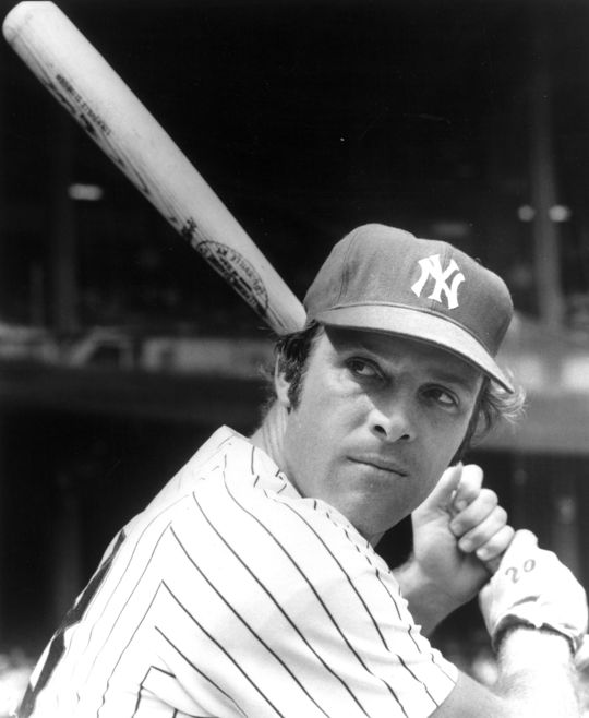 After suffering a broken finger in the Yankees' 1964 regular season finale, Jake Gibbs was unable to play in the World Series. He saw his roster spot taken by first baseman Mike Hegan (pictured above). (National Baseball Hall of Fame and Museum)