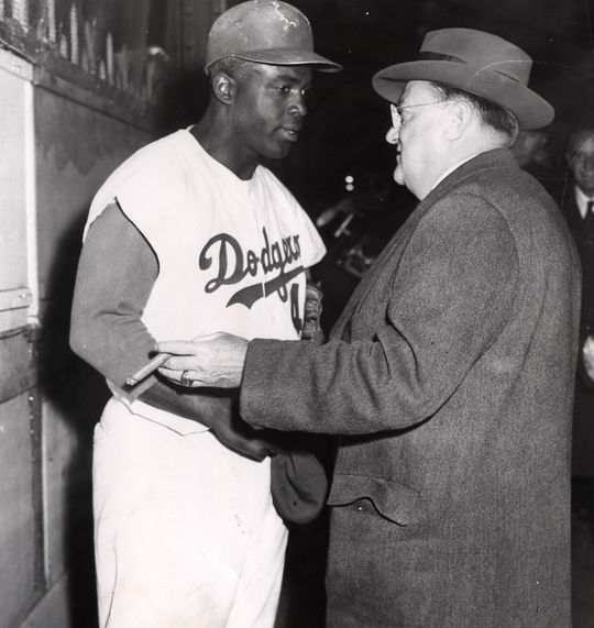 Jackie Robinson, shown here with Dodgers owner Walter O'Malley, came to Cuba for spring training in 1947. (National Baseball Hall of Fame and Museum)
