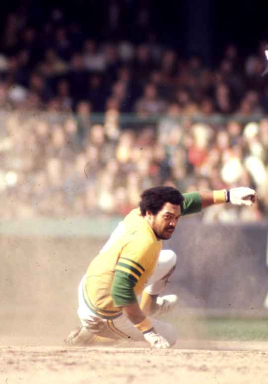 Reggie Jackson played his first nine big league seasons for the Athletics, leading his team to American League West titles from 1971-75 and World Series crowns in 1972, 1973 and 1974. (National Baseball Hall of Fame and Museum)