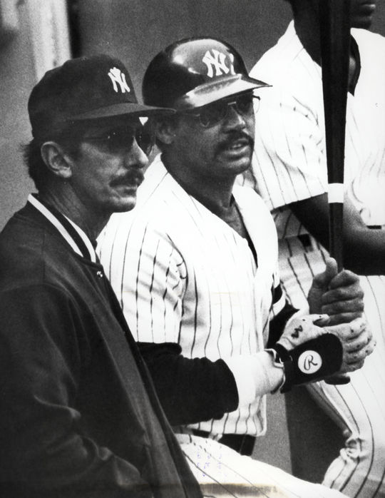 Billy Martin (left) was at the helm of the Yankees when they won the 1977 World Series. He's pictured above with Reggie Jackson. (National Baseball Hall of Fame and Museum)