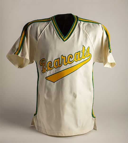 Jodi Haller made history as the first woman to pitch for a college baseball team, when she started for St. Vincent College. Her jersey from her playing days is now a part of the Hall of Fame's collection. (Milo Stewart Jr./National Baseball Hall of Fame and Museum)