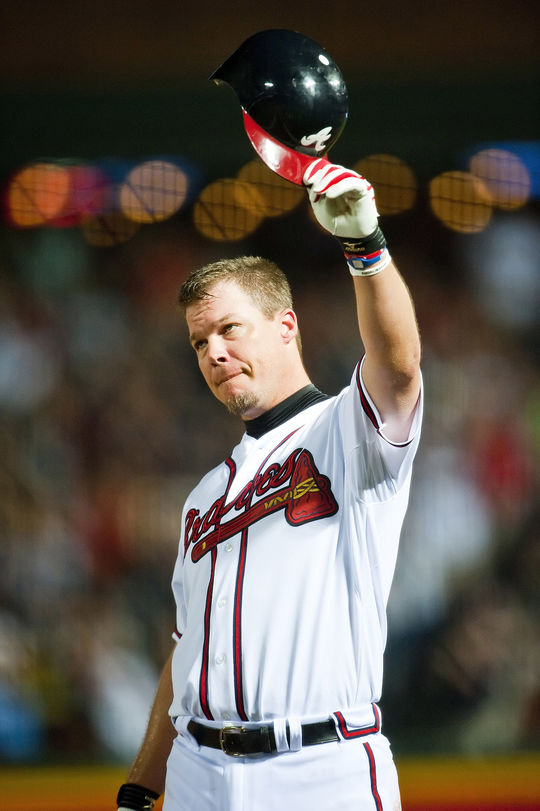 Chipper Jones is one of only nine players in history with at least a .300 batting average, .400 on-base percentage, .500 slugging average and 400 home runs. (National Baseball Hall of Fame and Museum)