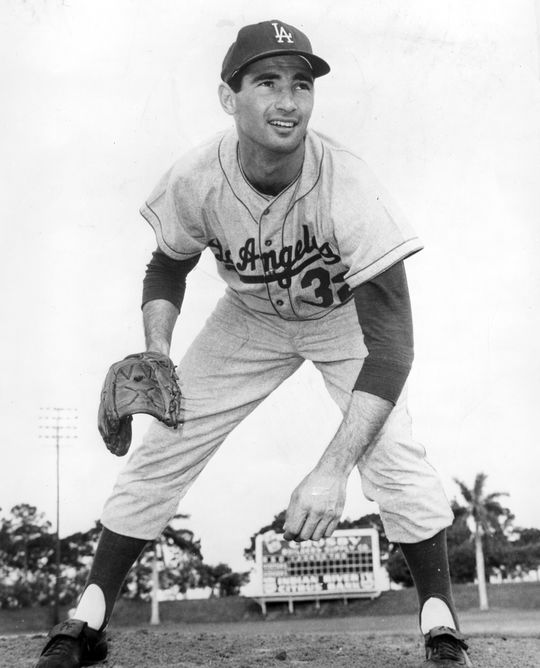 Sandy Koufax of the Los Angeles Dodgers posed pitching, circa 1963. BL-486.64b (National Baseball Hall of Fame Library)