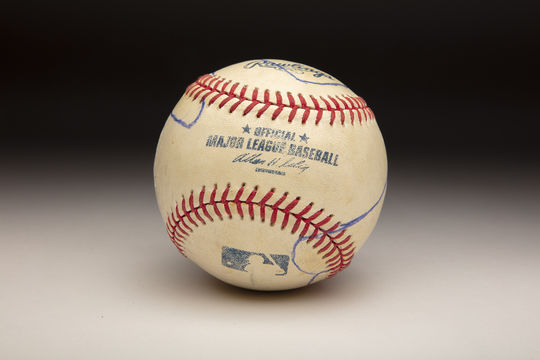 The ball that Mariano Rivera used to show Roy Halladay how he threw his cutter. (Milo Stewart Jr./National Baseball Hall of Fame and Museum)