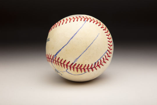 After Mariano Rivera showed Roy Halladay his grip for the cutter, Halladay carefully traced it onto the ball with ballpoint pen. (Milo Stewart Jr./National Baseball Hall of Fame and Museum)
