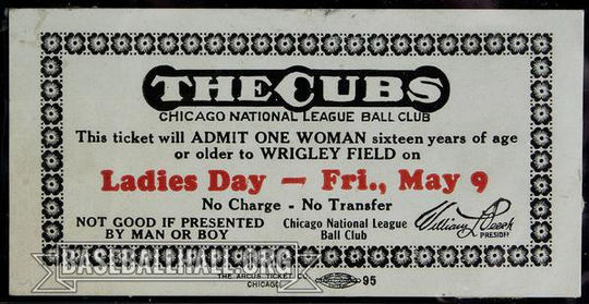 Ladies Day promotions often featured free admission to women. These promotions came to an end in the 1980s due to legal action. (National Baseball Hall of Fame and Museum)