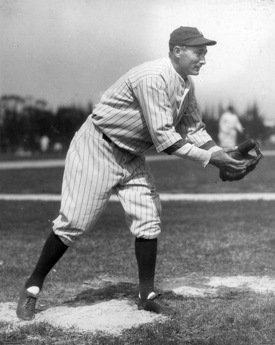 Tony Lazzeri fielded the ground ball hit by Clyde Barnhardt to conclude Game 1 of the 1927 World Series, flipping it to fellow Hall of Famer Lou Gehrig for the final out. (National Baseball Hall of Fame)