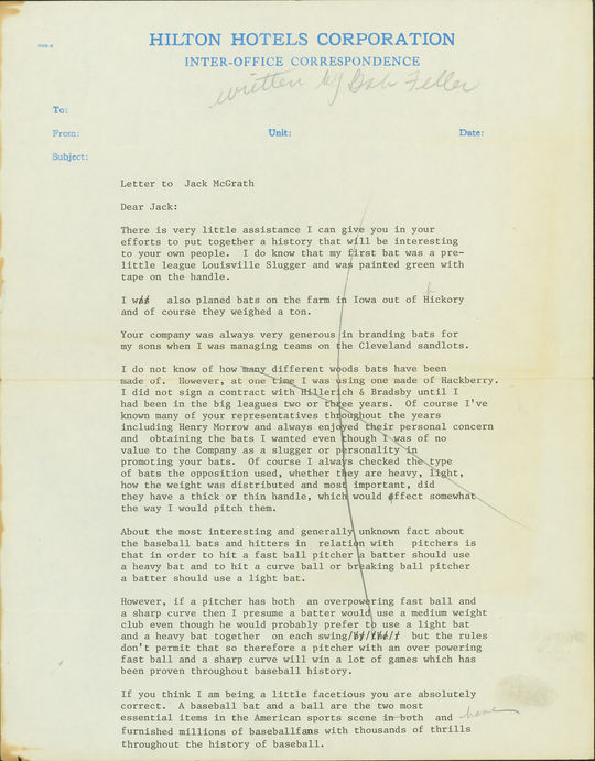 This letter from Bob Feller, recently donated to the National Baseball Hall of Fame and Museum, details the Hall of Famer's thoughts on bats and batting. (National Baseball Hall of Fame and Museum)