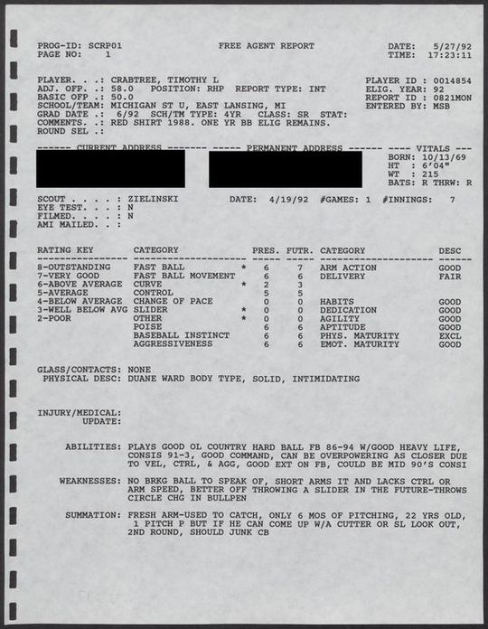 "Tim Crabtree's 1992 scouting report lauded him for his command and consistent speed. <a href=""https://collection.baseballhall.org/PASTIME/montreal-expos-g-scouting-reports-1992#page/188/mode/1up/search/tim+crabtree"">PASTIME</a> (National Baseball Hall of Fame and Museum)"