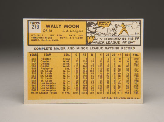 Reverse side of the 1963 Wally Moon Topps card. (Milo Stewart, Jr. / National Baseball Hall of Fame)