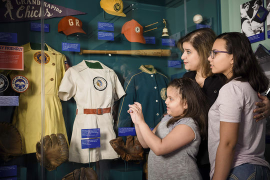 """The popular """"Diamond Dreams"""" exhibit pays homage to the female players, executives and commentators who have impacted baseball on the field and behind the scenes. (Mitch Wojnarowicz/National Baseball Hall of Fame and Museum)"""