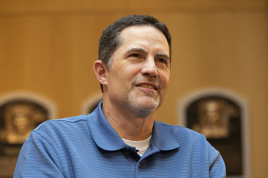 Mike Mussina answers questions from the media during his Orientation Visit in March, 2019. (Milo Stewart Jr./National Baseball Hall of Fame and Museum)