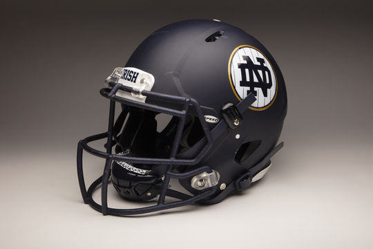 Dual-sport Notre Dame athlete Cole Kmet's helmet from the Shamrock Series game against Syracuse at Yankee Stadium. (Milo Stewart Jr./National Baseball Hall of Fame and Museum)
