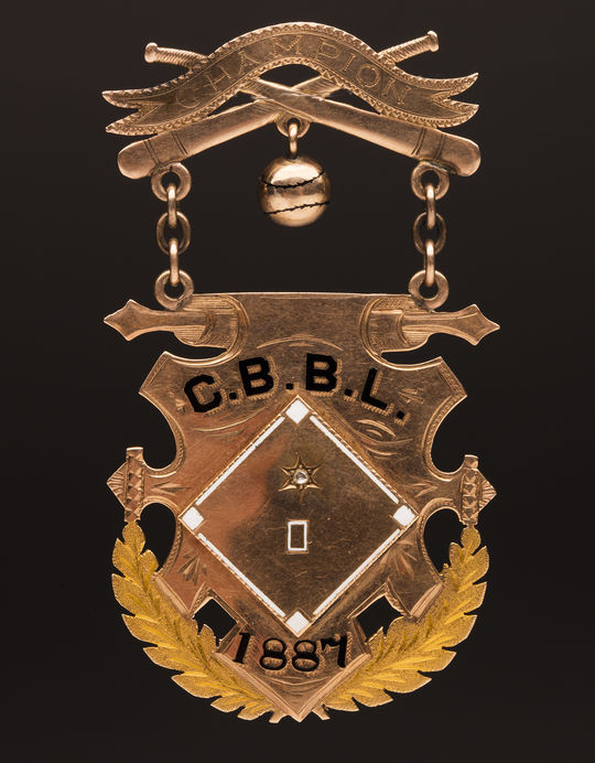 Medal presented to Nick Smith for being a member of the 1887 California League championship team. Smith's heirs donated the medal to the Hall of Fame. (Milo Stewart Jr./National Baseball Hall of Fame and Museum)
