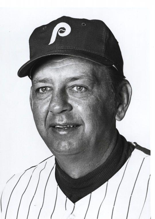 Phillies manager Danny Ozark praised Bill Robinson for his perseverance in turning around a career that appeared to derail with the Yankees years earlier. (National Baseball Hall of Fame and Museum)