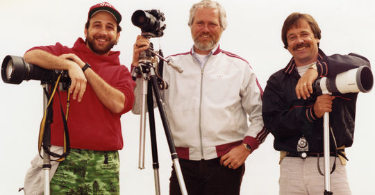 Baseball card photographers (from left to right) Mitchell Haddad (Donruss), Doug McWilliams (Topps), and Lou Sauritch (Fleer) at spring training in Arizona, ca. 1984. (National Baseball Hall of Fame Library)